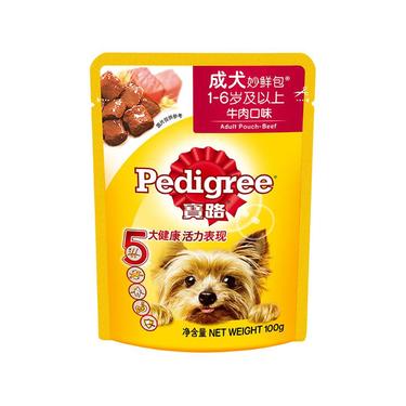 宝路Pedigree 牛肉拌狗粮成犬妙鲜包 100g