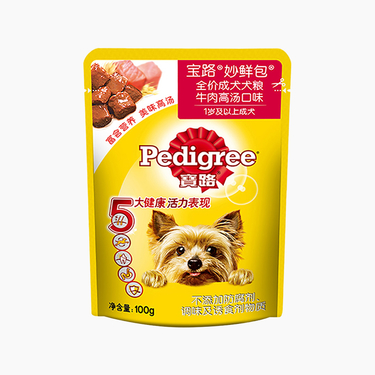 寶路Pedigree 牛肉高湯口味成犬妙鮮包  100g 狗濕糧