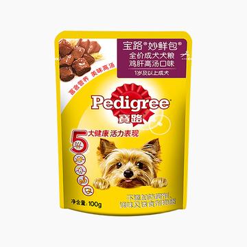 宝路Pedigree 鸡肝高汤口味成犬妙鲜包 100g 狗湿粮 小图 (0)