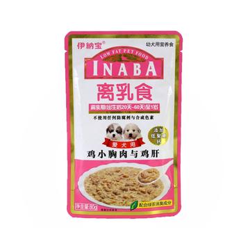 日本伊纳宝 鸡小胸肉与鸡肝幼犬用湿粮包 80g 小图 (0)