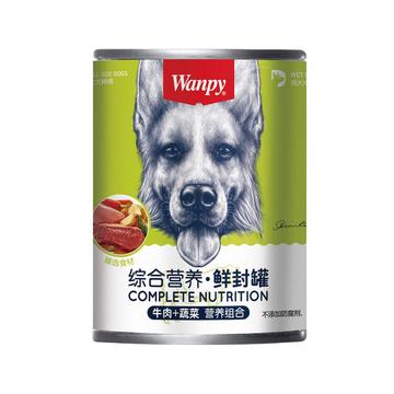 顽皮Wanpy 牛肉蔬菜狗罐头375g 小图 (0)