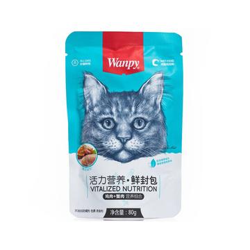 顽皮Wanpy 鸡肉蟹肉鲜封包猫湿粮 80g 小图 (0)