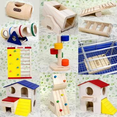 carno 木質倉鼠玩具用品 秋千 隧道 翹翹筒 迷宮 窩