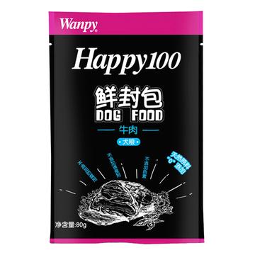 顽皮Wanpy happy100系列成犬牛肉午餐肉鲜封包80g 狗湿粮 小图 (0)