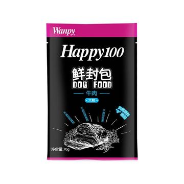 顽皮Wanpy happy100系列成犬牛肉午餐肉鲜封包70g 狗湿粮 小图 (0)