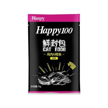 顽皮Wanpy happy100系列鸡肉鳕鱼汤汁鲜封包70g 猫湿粮 小图 (0)