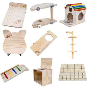 卡诺木质龙猫玩具用品跳板/窝/木屋/吊链/多款可选 小图 (0)