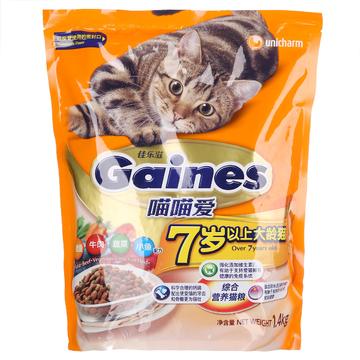 佳乐滋 喵喵爱7岁以上大龄猫粮金枪鱼牛肉蔬菜小鱼配方猫粮1.4kg 小图 (0)