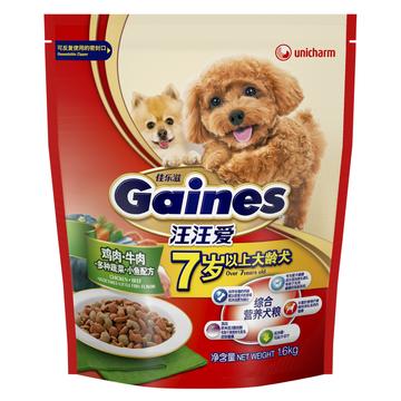 佳乐滋 汪汪爱7岁以上大龄犬粮鸡肉牛肉多种蔬菜小鱼配方狗粮1.6kg 小图 (0)