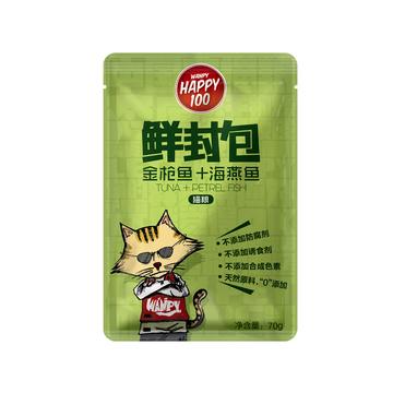 顽皮Wanpy Happy100金枪鱼海燕鱼鲜封包猫湿粮 70g 小图 (0)