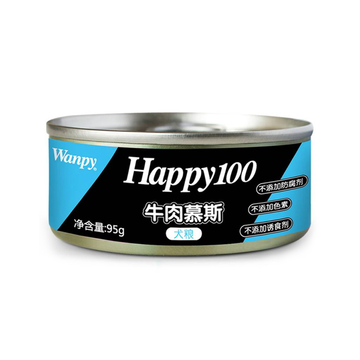 顽皮Wanpy happy100牛肉慕斯狗罐头95g 狗湿粮 小图 (0)