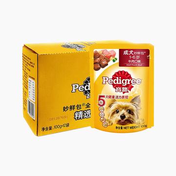 宝路Pedigree 精选牛肉成犬妙鲜包 100g*12包 小图 (0)