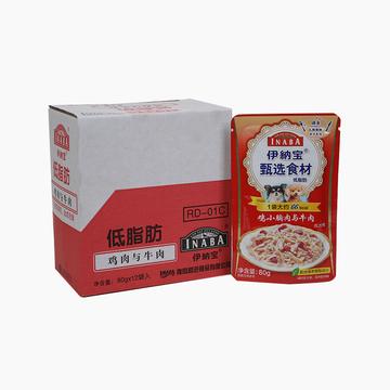 伊纳宝 低脂肪鸡小胸肉与牛肉成犬用狗湿粮 80g*12包 小图 (0)