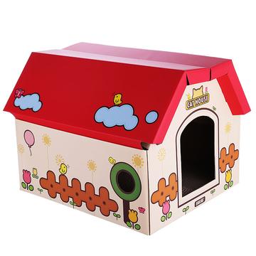 田田猫 瓦楞纸组合房子 独立空间带磨爪纸箱盒子猫窝 小图 (0)