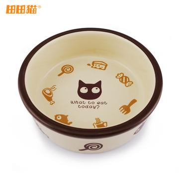 田田猫 圆形卡通陶瓷猫碗 小图 (0)