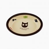 田田猫 椭圆形卡通陶瓷猫碗宠物用品