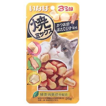 伊纳宝 猫用鲣鱼节味、扇贝味、鱿鱼味三种口味25g 猫零食 小图 (0)