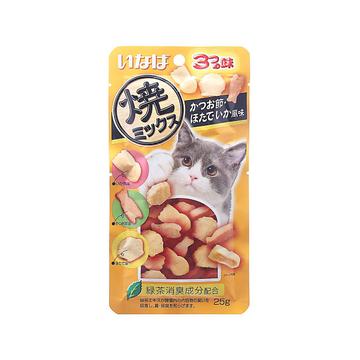 日本伊纳宝 鲣鱼节味扇贝味鱿鱼味肉粒奖励猫零食 25g 小图 (0)