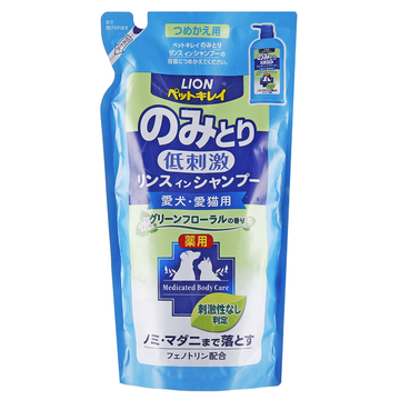 狮王LION 祛跳蚤二合一香波替换装 草本花香型 犬猫通用 400ml 小图 (0)