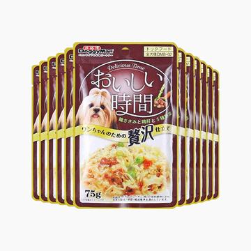 日本多格漫Doggyman 犬用低脂肪鸡肉鸡肝五种蔬菜湿粮75g*12包 小图 (0)
