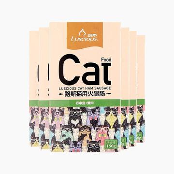 路斯 猫用火腿肠吞拿鱼+蟹肉150g*6 美毛 亮毛 猫零食 小图 (0)