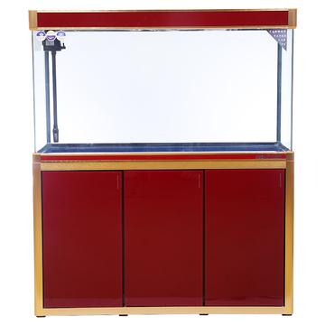 聚宝源无边框直弯龙鱼缸上滤-1.2m酒红(缸+柜子) 小图 (0)