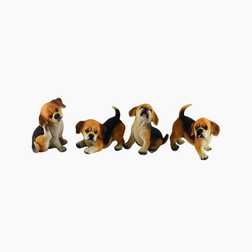 多拉乐 树脂仿真狗比格犬模型 一套四只 装饰摆件 小图 (0)