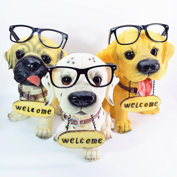 多拉乐 树脂仿真狗眼镜狗模型宠物店铺开业装饰品 小图 (0)