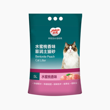 怡亲Yoken 水蜜桃香味膨润土猫砂5L 小图 (0)