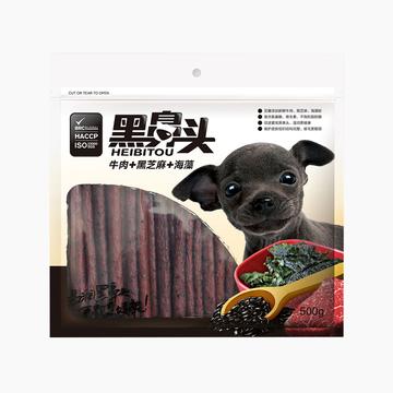 黑鼻头 犬用海藻黑芝麻牛肉条500g 狗零食训练奖励美毛增色 小图 (0)