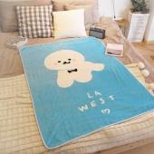 LA WEST法兰绒毯毛毯秋盖毯午睡毯空调毯宿舍儿童卡通比熊狗毯子