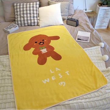 LA WEST法兰绒毯毛毯秋盖毯午睡毯空调毯宿舍儿童卡通泰迪狗毯子 小图 (0)