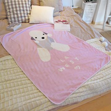 LA WEST法兰绒毯毛毯秋盖毯午睡毯空调毯宿舍儿童卡通贝灵顿狗毯子 小图 (0)