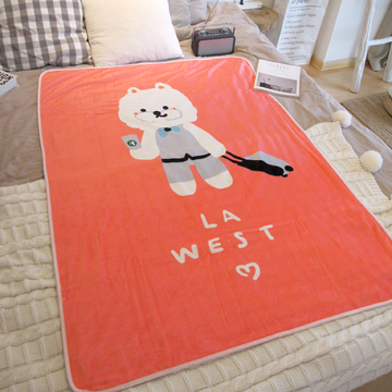 LA WEST法兰绒毯毛毯秋盖毯午睡毯空调毯宿舍儿童卡通西高地狗毯子 小图 (0)