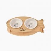 伊麗Elite 純手工魚型寵物竹架陶瓷雙碗貓碗狗碗寵物用品
