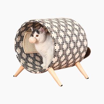 伊丽Elite 猫爬架实木猫床圆桶猫窝猫抓板猫磨爪宠物用品猫咪玩具 小图 (0)