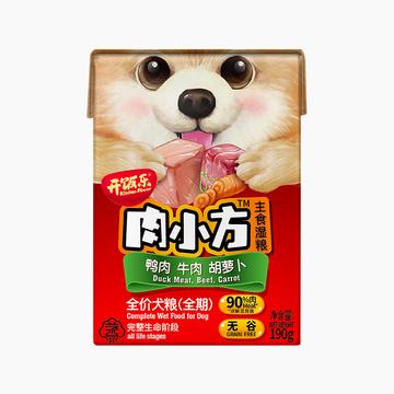开饭乐 无谷肉小方鸭肉牛肉胡萝卜全期犬湿粮190g 90%含肉量 小图 (0)