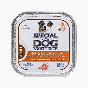 意大利孟爵Monge 单一肉食系列火鸡肉泥 成犬狗罐头150g 100%火鸡肉 小图 (0)