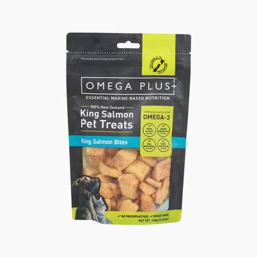 奥鲑冠Omega Plus 原鱼冻干三文鱼帝王鲑鱼块100g 猫狗零食 新西兰进口