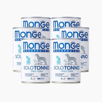 意大利梦吉Monge 单一蛋白金枪鱼肉泥 无谷成犬主粮罐 400g*6罐 狗湿粮 小图 (0)
