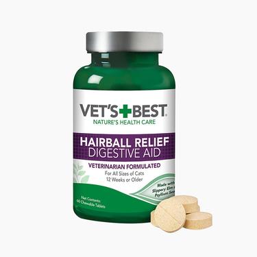 VET'S BEST 绿十字 猫用化毛猫草片 (60粒) 0诱食剂 天然方式解决毛球