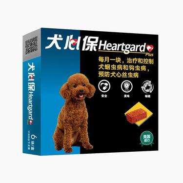 犬心保 牛肉块体内驱虫药 适用11kg以下小型犬 6片/盒 美国进口