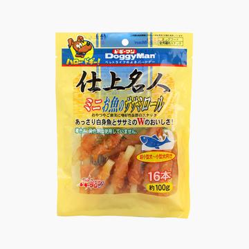 日本多格漫Doggyman 名仕鸡肉鱼咬胶卷16根装100g 狗零食磨牙棒耐咬洁齿骨