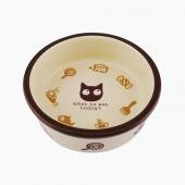 田田猫 圆形卡通陶瓷猫碗宠物用品